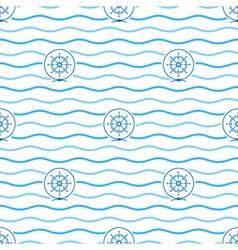 Blue Ships Wheel Seamless Pattern vector