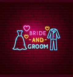 bride and groom neon label vector image