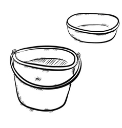 bucket and bowl vector image
