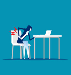 Businesswoman with back pain from wrong way vector