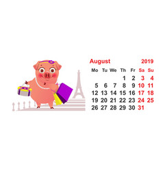 calendar 2019 august pig female shopping in paris vector image