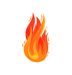 Cartoon icon bright red-orange fire in flat vector