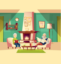 Cartoon old man and woman in living room vector