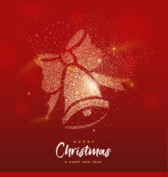christmas gold glitter bell ornament greeting card vector image