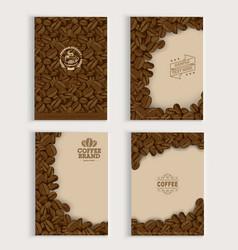 Coffee beans cover design set vector