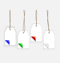 colorful realistic paper labels with curle corners vector image