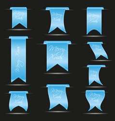 Cyan hanging curved ribbon banners set for merry vector