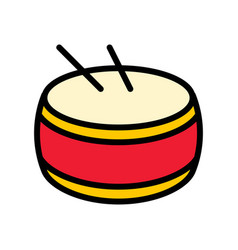 Drum chinese lunar new year filled outline icon vector