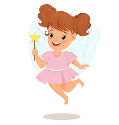fairy girl in pink dress with magic wand cute vector image