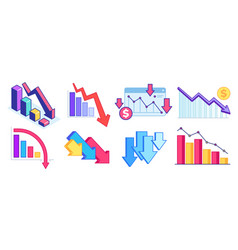fall down chart finance crisis business problem vector image