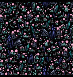 field wild flowers seamless floral pattern bright vector image