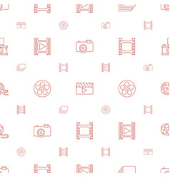 film icons pattern seamless white background vector image