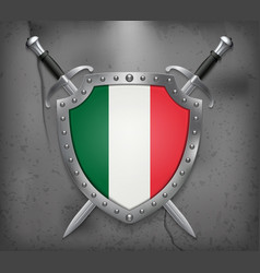 flag of italy the shield with national flag two vector image