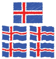 Flat and Waving Hand Draw Sketch Flag of Iceland vector image