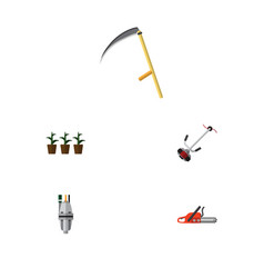 Flat icon dacha set of hacksaw pump grass-cutter vector