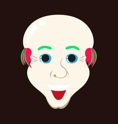 Flat icons on theme funny bald-headed man vector