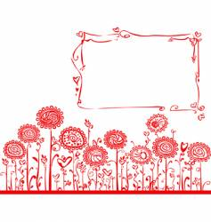 Floral background with frame vector