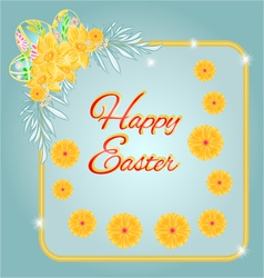 Frame Easter eggs and daffodils turquoise backgrou vector