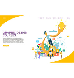 Graphic design courses website landing page vector