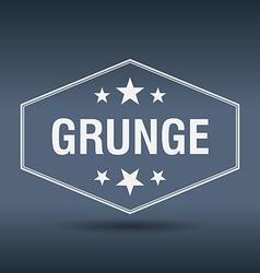 grunge hexagonal white vintage retro style label vector image