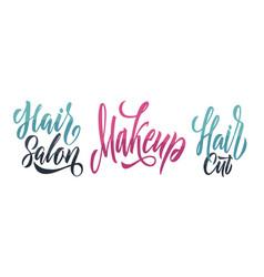 Hair salon logo design template makeup vector