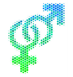 Halftone blue-green heterosexual symbol icon vector
