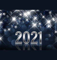 Happy new year background with metallic numbers vector