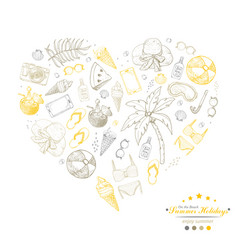heart from summer beach elements vector image
