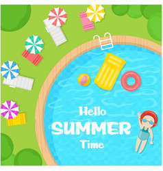 Hello summer time swimming pool background vector