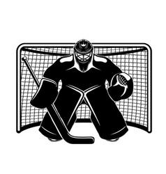 Hockey goalkeeper in goal vector