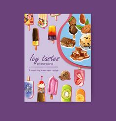 Ice cream poster design with fruits cream vector