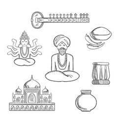 Indian culture and religion sketch icons vector
