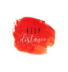 Keep distance red ink icon coronavirus lockdown vector