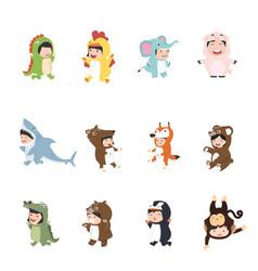 kids wearing animal in carnival costumes set vector image