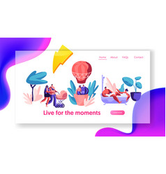 life for happy moment landing page man and woman vector image
