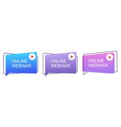 Live online webinar icons webinar concept online vector