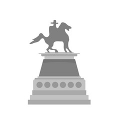 Man at horse statue icon flat style vector