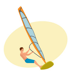 Man sails on sailboat keeps is engaged in active vector