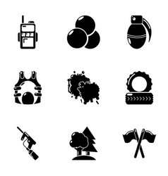 Military preparation icons set simple style vector