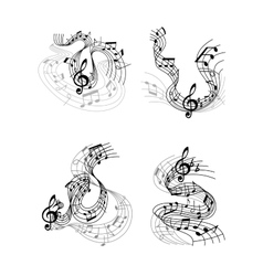 Musical compositions with music waves vector