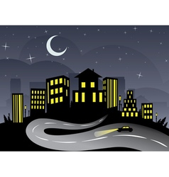Night City and Road2 vector image