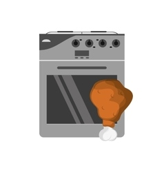 Oven and chicken thigh icon vector