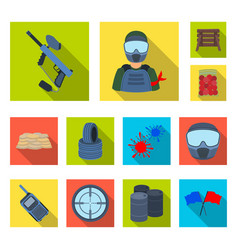 Paintball team game flat icons in set collection vector