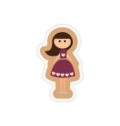 Paper sticker on white background friend bride vector