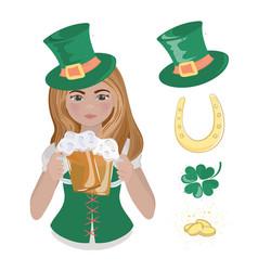 Patrick beer girl saint patrick day vector