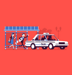people catching a taxi cab vector image