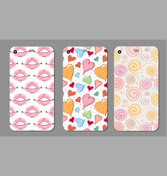 Phone case collection closeup beautiful lips of vector