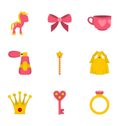 Princess fairy tail icon set flat style vector