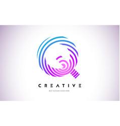 q lines warp logo design letter icon made vector image
