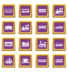 railway carriage icons set purple square vector image